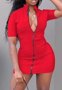 Summer Casual Red Zip Up Front Turtleneck Mini Dress