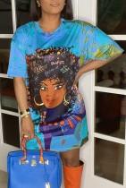 Sommer Character Print Blue Loose Shirt Kleid