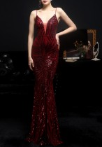 Sommer Red Pailletten Strap Mermaid Long Evening Dress