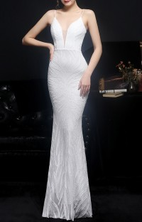 Summer White Sequins Strap Mermaid Long Evening Dress