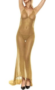 Summer Golden Deep-V See Through Night Sexy Long Gown