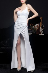 Summer White Wrapped Strap Long Evening Dress