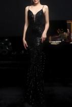 Sommer schwarz Pailletten Riemen Meerjungfrau lange Abendkleid