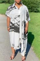 Vestido de blusa larga con estampado blanco y negro de verano