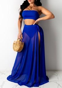 Summer Beach Blue High Waist Bandeau Swimwear with Matching Cover-Up