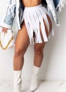 Faldas de club de cremalleras de cintura alta blancas de verano