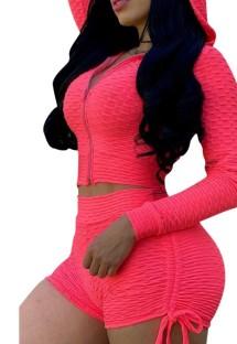 Jaqueta com capuz rosa verão waffle e shorts combinando com terno de corrida 2 unidades