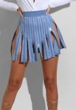Sommerblaue Club-Röcke mit hoher Taille und Reißverschlüssen