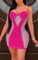 Yaz Pembe Yama Seksi Boncuklu Askılı Mini Bodycon Elbise