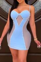 Yaz Mavi Yama Seksi Boncuklu Askılı Mini Bodycon Elbise