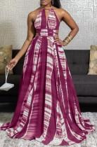 Summer African Tie Dye Halfter Langes Maxi-Abendkleid