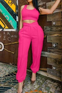 Summer Casual Pink Tank Crop Top and Sweatpants Matching 2PC Set