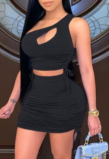 Summer Black Ruched One Shoulder Crop Top and Mini Skirt Matching 2PC Set