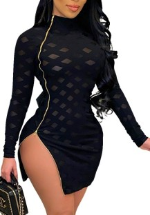 Spring Black Side Zip Up Long Sleeve Sexy Club Dress