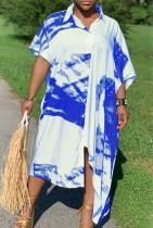 Abito camicetta lunga con stampa bianca e blu estiva