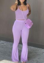 Top corto estivo casual con cinturino viola e pantaloni a vita alta abbinati a 2 pezzi
