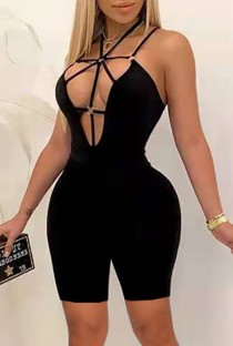 Summer Black Sexy Hollow Out Bodycon Strampler Overall