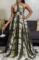 Vestido de noite longo maxi com halter africano de verão tie dye