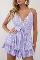 Summer Casual Purple Plaid Strampler mit hoher Taille