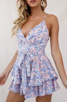 Summer Casual Floral Print High Waist Strap Rompers