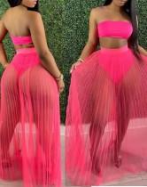 Summer Pink Bandeau Top und Mesh Rock 2PC Set