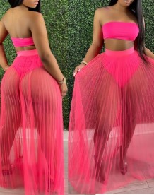 Summer Pink Bandeau Top and Mesh Skirt 2PC Set
