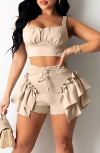Summer Casual Beige Strap Crop Top and Ruffle Shorts 2PC Matching Set