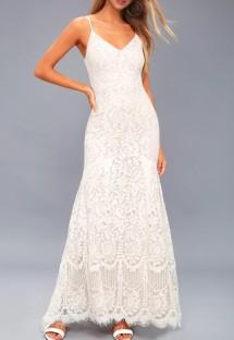 Vestido de noche de sirena con correa de encaje blanco de verano