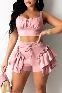 Summer Casual Pink Strap Crop Top and Ruffle Shorts 2PC Matching Set