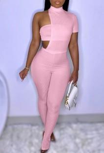 Summer Pink Slit Bottom Sexy Irregular Bodycon Jumpsuit