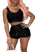 Summer Black Tank Crop Top y Shorts de cintura alta Conjunto de 2 piezas