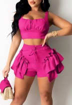 Summer Casual Rose Strap Crop Top and Ruffle Shorts 2PC Matching Set