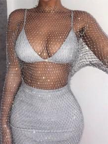 Summer Silver Beaded Long Sleeve Fishnet Dress Cover-Up