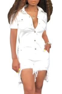 Summer Casual White Buttom Up Kurzarm-Strampler mit unregelmäßigen Jeans