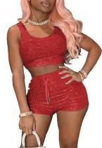 Summer Red Tank Crop Top y Shorts de cintura alta Conjunto de 2 piezas