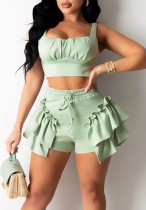 Summer Casual Green Strap Crop Top and Ruffle Shorts 2PC Matching Set