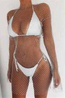 Cobertura de vestido de rede arrastão de manga comprida branca de verão