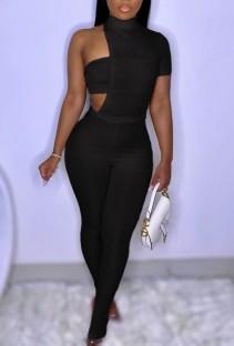 Летний черный сексуальный облегающий комбинезон неправильной формы с разрезом внизу