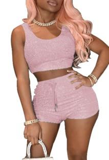 Summer Pink Tank Crop Top und Shorts mit hoher Taille 2PC Set