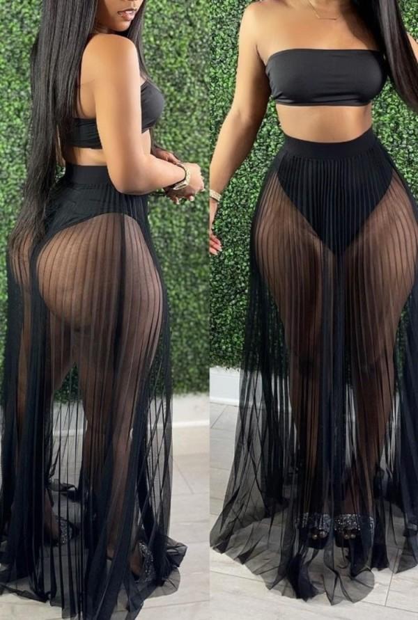 Summer Black Bandeau Top and Mesh Skirt 2PC Set