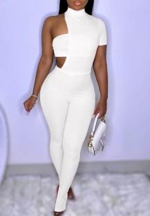 Summer White Slit Bottom Sexy unregelmäßiger Bodycon Jumpsuit