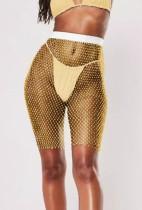Coprispalle per pantaloncini a vita alta a rete gialla con perline estive