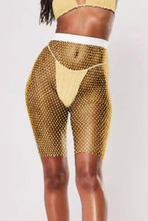 Cobertura para calções de cintura alta com beading amarelo arrastão de cintura alta