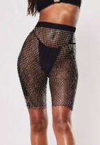 Coprispalle per pantaloncini a vita alta a rete nera con perline estive