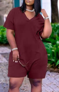 Summer Casual Burgundy V-Neck Short Sleeve Loose Rompers with Pockets