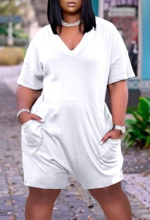 Summer Casual White V-Neck Short Sleeve Loose Rompers with Pockets