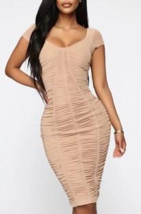 Summer Beige Short Sleeves Elegant Ruched Midi Dress
