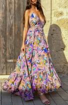 Summer Sexy Deep-V Floral Halter largo maxi vestido de verano