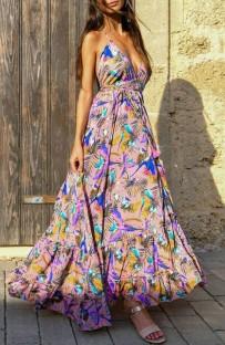 Summer Sexy Deep-V Floral Halter Long Maxi Dress