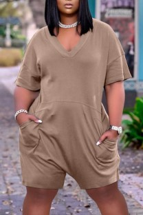 Summer Casual Khaki V-Neck Short Sleeve Loose Rompers with Pockets
